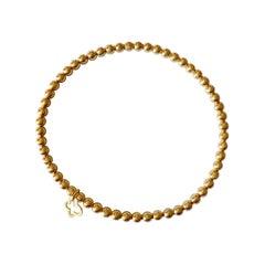 18 Karat Solid Yellow Gold Stretch Ball Chain Bracelet / Bangle