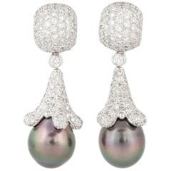 18 Karat South Sea Gray Pearl Diamond Earrings