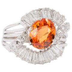 18 Karat Spessartite Garnet and Diamond Ring