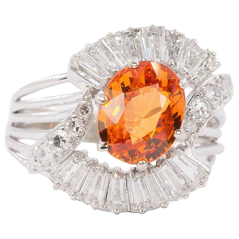 18 Karat Spessartite Garnet and Diamond Ring For Sale