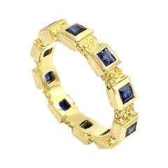 18 Karat Square Sapphire Eternity Stacking Ring