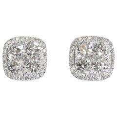 18 Karat Square Shape Diamond Cluster Pierced Stud Earrings