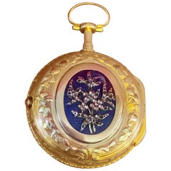 18 Karat Swiss Gold Blue Enamel Tri Colour Fusee Pocket Watch