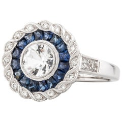 18 Karat Target Ring with Sapphires and Diamonds