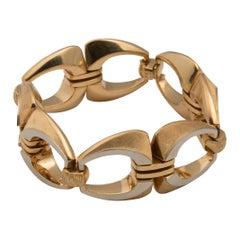 18 Karat Textured and Polished Gold Link Bracelet