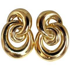 18 Karat Three Dimensional Intertwined Style Clip Earrings