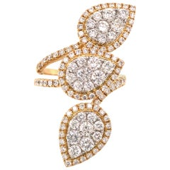18 Karat Three Pear Shape Cluster Diamond Ring Two-Tone Gold