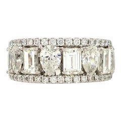 18 Karat Three-Row Diamond Band White Gold