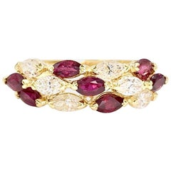 18 Karat Three-Row Ruby and Diamond Ring
