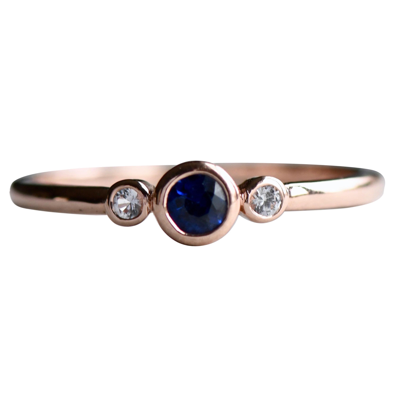 18 Karat Three Stone Sapphire Diamond Rose Gold Ring