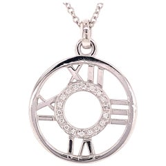 18 Karat Tiffany & Co. Atlas Diamond Circle Roman Numeral Pendant White Gold