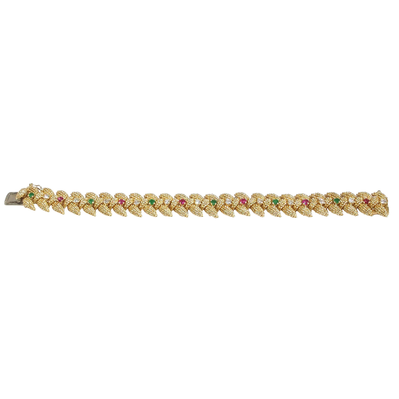 18 Karat Tiffany & Co. Diamond Ruby Emerald Bracelet Yellow Gold Vintage, 1960s
