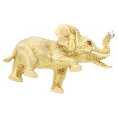 18 Karat Tiffany & Co. Elephant Brooch
