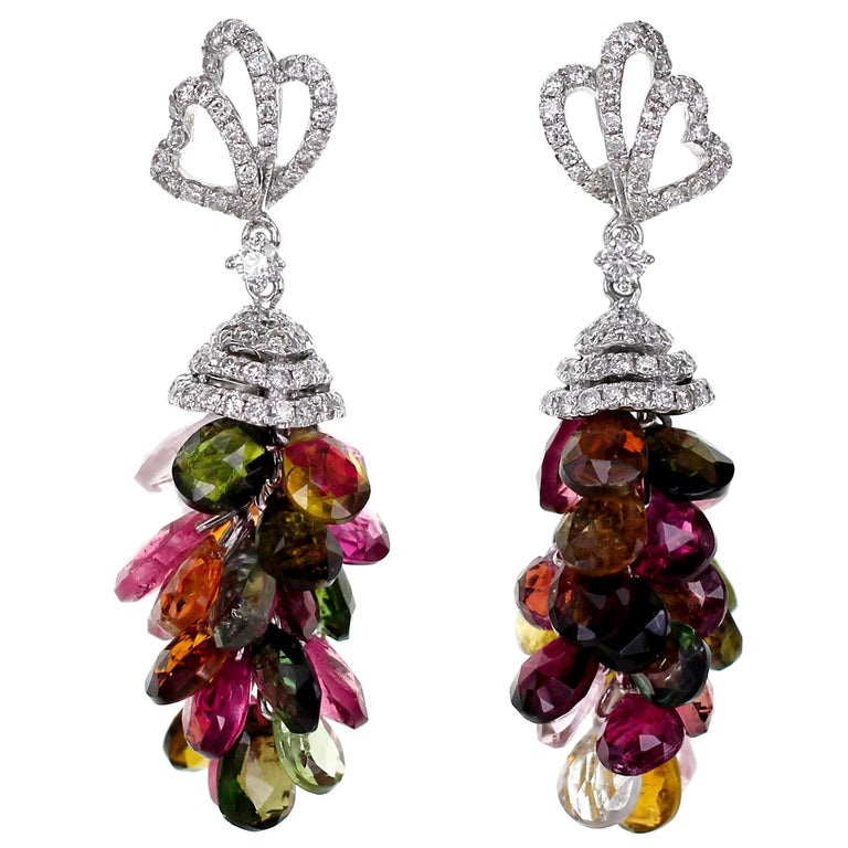 18 Karat Tourmaline and Diamond Cocktail Earring For Sale