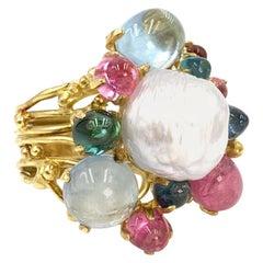 18 Karat Tourmaline and Pearl Cluster Ring