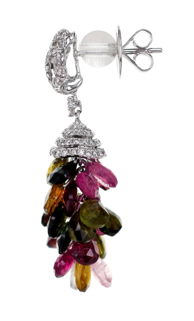 Aesthetic Movement 18 Karat Tourmaline and Diamond Cocktail Earring For Sale