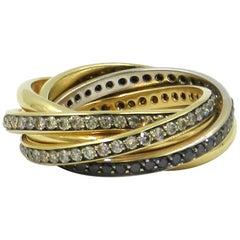 18 Karat Tri-Color Gold Brown and Black Diamonds Garavelli Ring