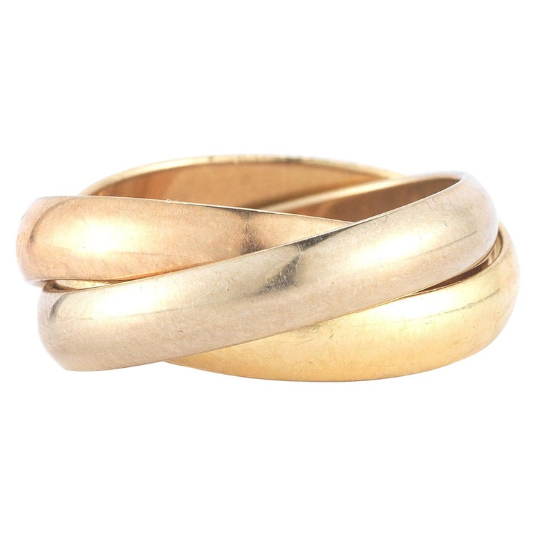 18 Karat Tri-Color Gold Les Must de Cartier Trinity Band Ring For Sale