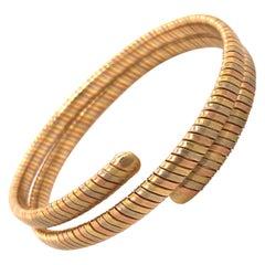 18 Karat Tri-Color Gold Spiral Bangle Bracelet