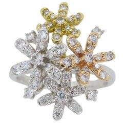 "18 Karat Tri-Colored Diamond ""Fireworks"" Cocktail Ring"