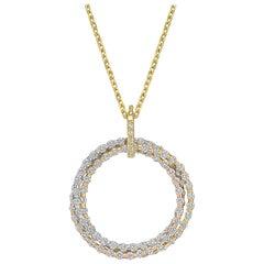 18 Karat Tri-Colored Gold and Diamond Circle Pendant