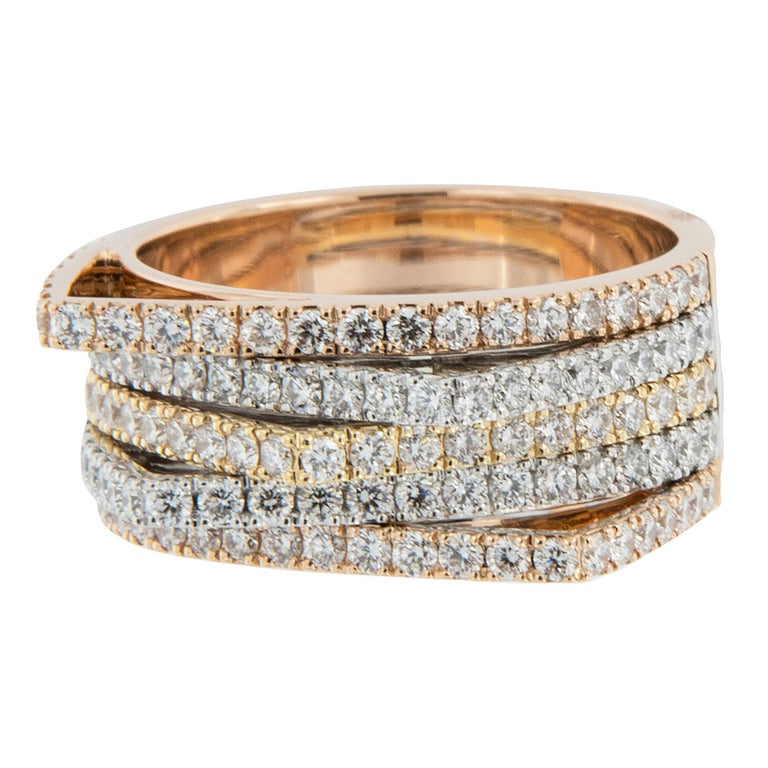 18 Karat Tri Colored Gold Multi Rowed Gold and Diamond Ring For Sale
