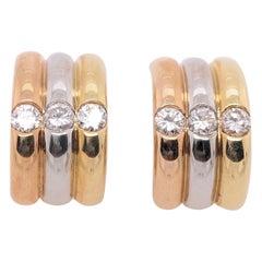 18 Karat Tri-Tone French Back Earrings with Round Diamonds 1.50 TDW