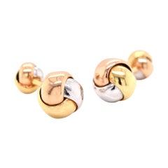 18 Karat Tri-Tone Gold Knotted Cufflinks