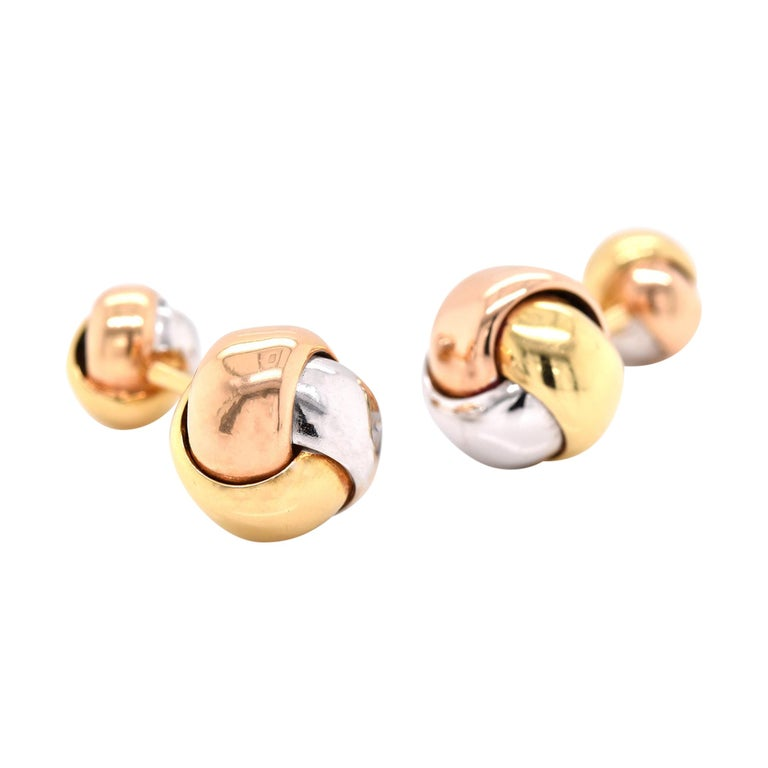 18 Karat Tri-Tone Gold Knotted Cufflinks For Sale