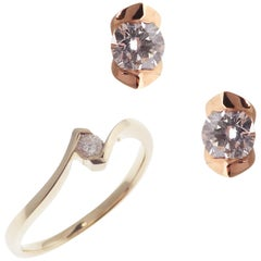 18 Karat Tricolor Gold Diamond Small Round Accent Stud Earring Ring Set