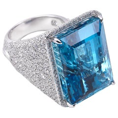 18 Karat Trinity White Gold Aquamarine Ring