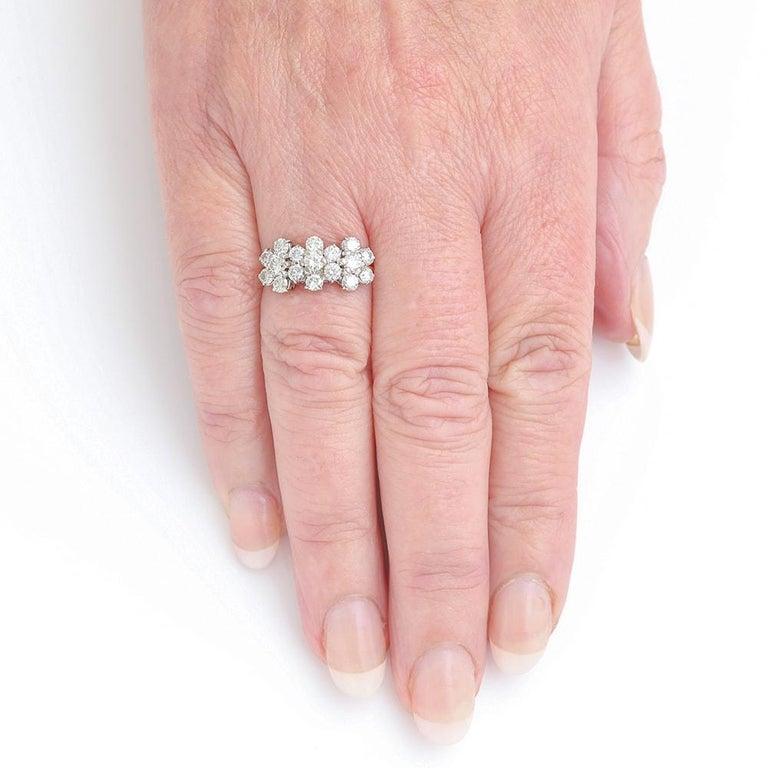 18 Karat Triple Daisy Flower Cluster Diamond Est. 1.20 Carat Ring For Sale 4
