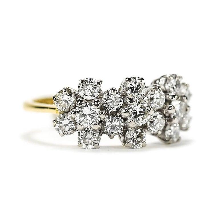 Modern 18 Karat Triple Daisy Flower Cluster Diamond Est. 1.20 Carat Ring For Sale