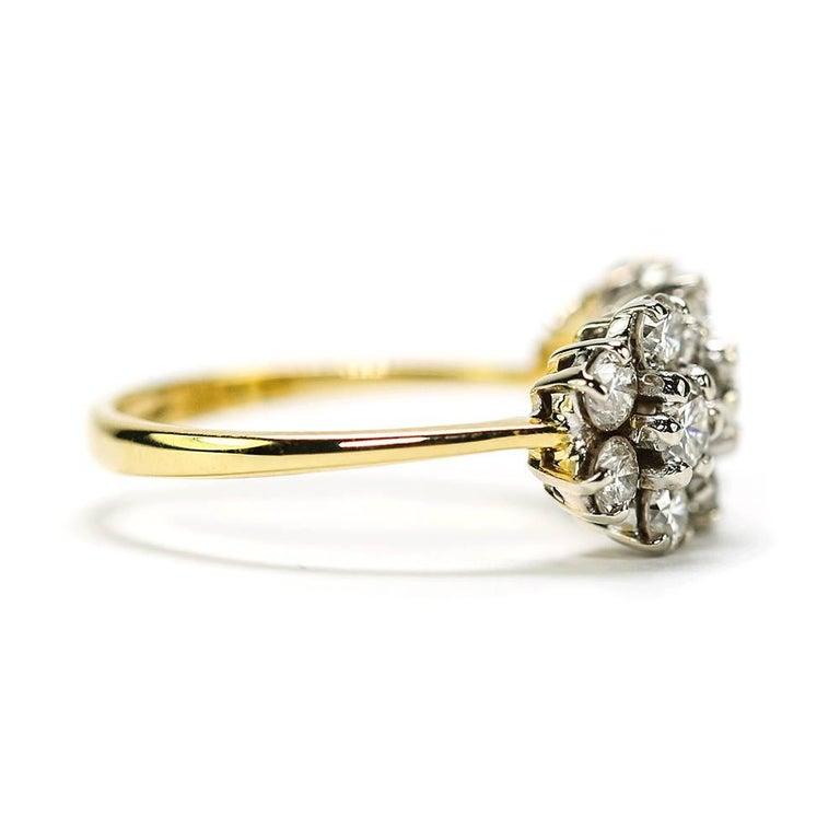 Round Cut 18 Karat Triple Daisy Flower Cluster Diamond Est. 1.20 Carat Ring For Sale