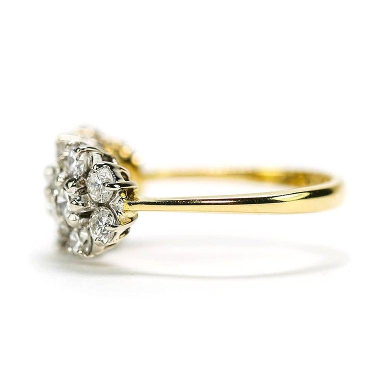 18 Karat Triple Daisy Flower Cluster Diamond Est. 1.20 Carat Ring In Good Condition For Sale In Lancashire, Oldham