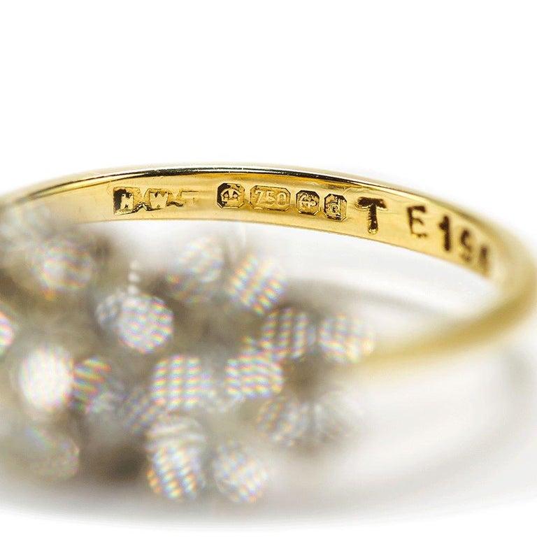 Women's 18 Karat Triple Daisy Flower Cluster Diamond Est. 1.20 Carat Ring For Sale