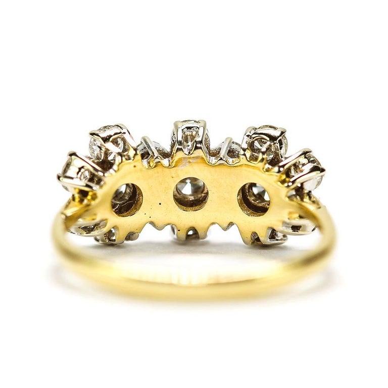 18 Karat Triple Daisy Flower Cluster Diamond Est. 1.20 Carat Ring For Sale 1