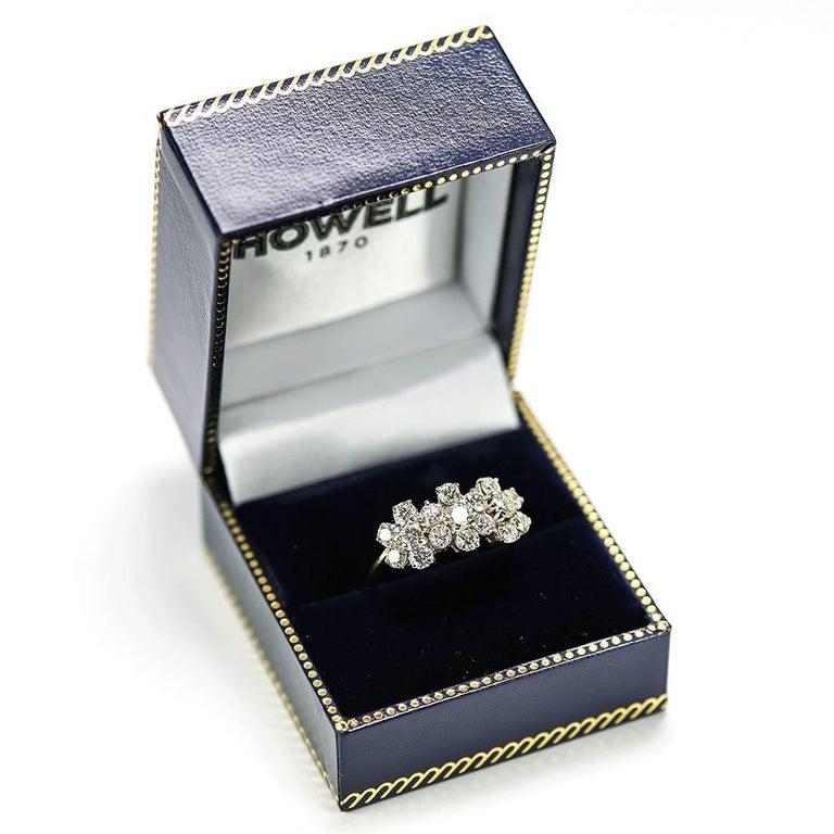 18 Karat Triple Daisy Flower Cluster Diamond Est. 1.20 Carat Ring For Sale 2