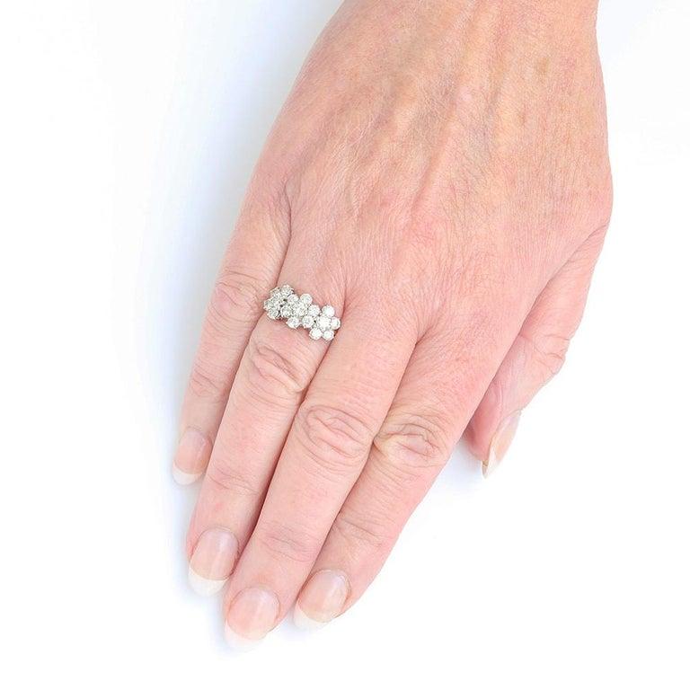 18 Karat Triple Daisy Flower Cluster Diamond Est. 1.20 Carat Ring For Sale 3