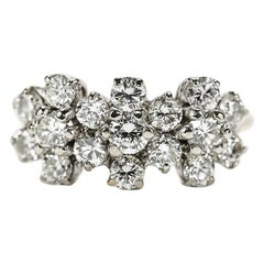 18 Karat Triple Daisy Flower Cluster Diamond Est. 1.20 Carat Ring
