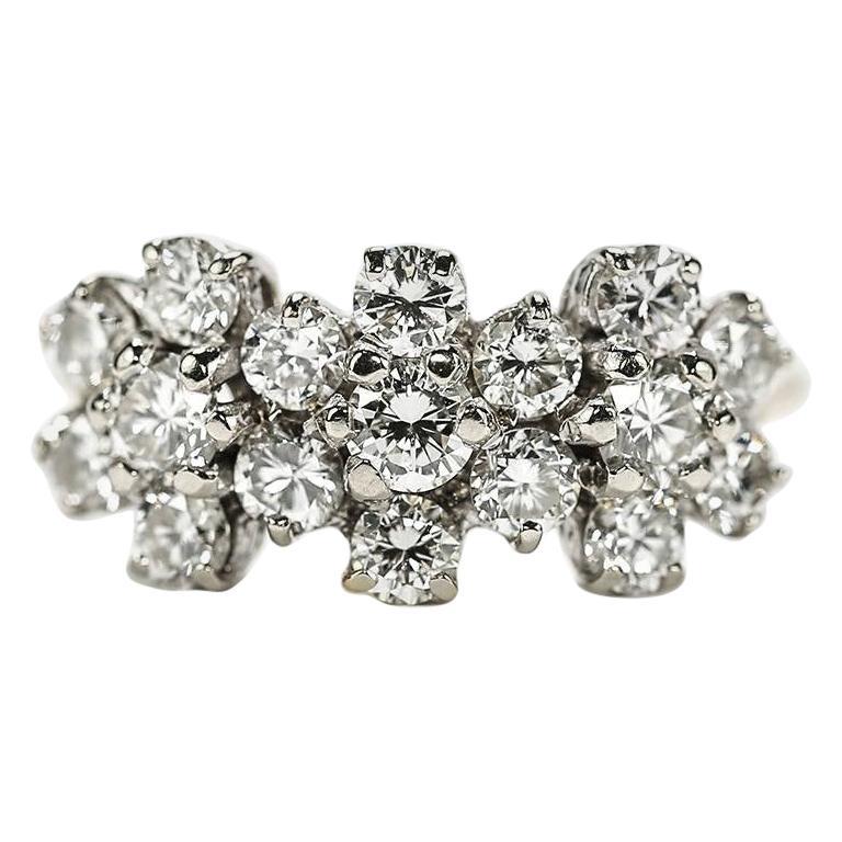 18 Karat Triple Daisy Flower Cluster Diamond Est. 1.20 Carat Ring For Sale