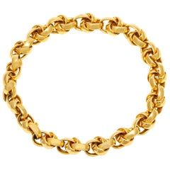 18 Karat Tripling Link Gold Choker Necklace