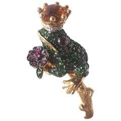 18 Karat Tsavorite, Diamond and Ruby Frog Ring