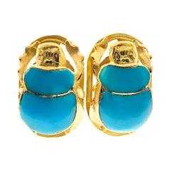 18 Karat Turquoise Scarab Egyptian Cufflinks