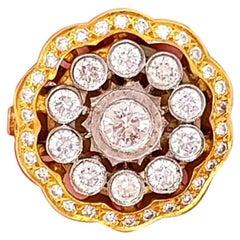 18 Karat Tuscan Style Vintage Diamond Flower Shape Ring Two-Tone Gold