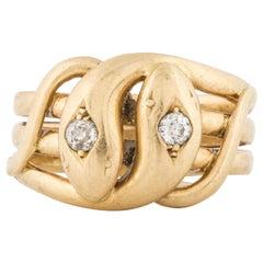 18 Karat Twin Serpent Head Ring