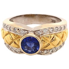 18-Karat, Two-Tone Blue Sapphire and Diamond Ring