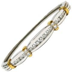 18 Karat Two-Tone Channel-Set Diamond Bangle Bracelet