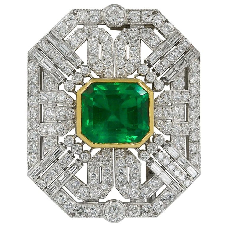 18 Karat Two-Tone Diamond and Colombian Emerald Brooch For Sale