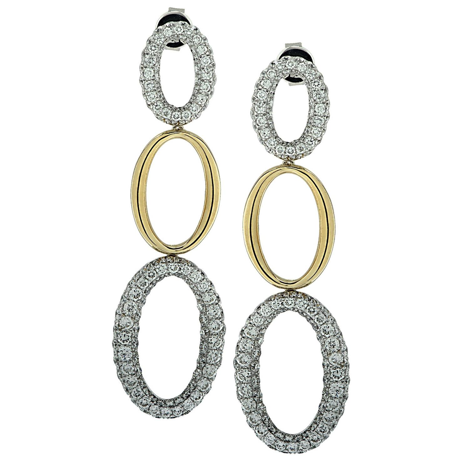 18 Karat Two Tone Diamond Encrusted Dangle Earrings